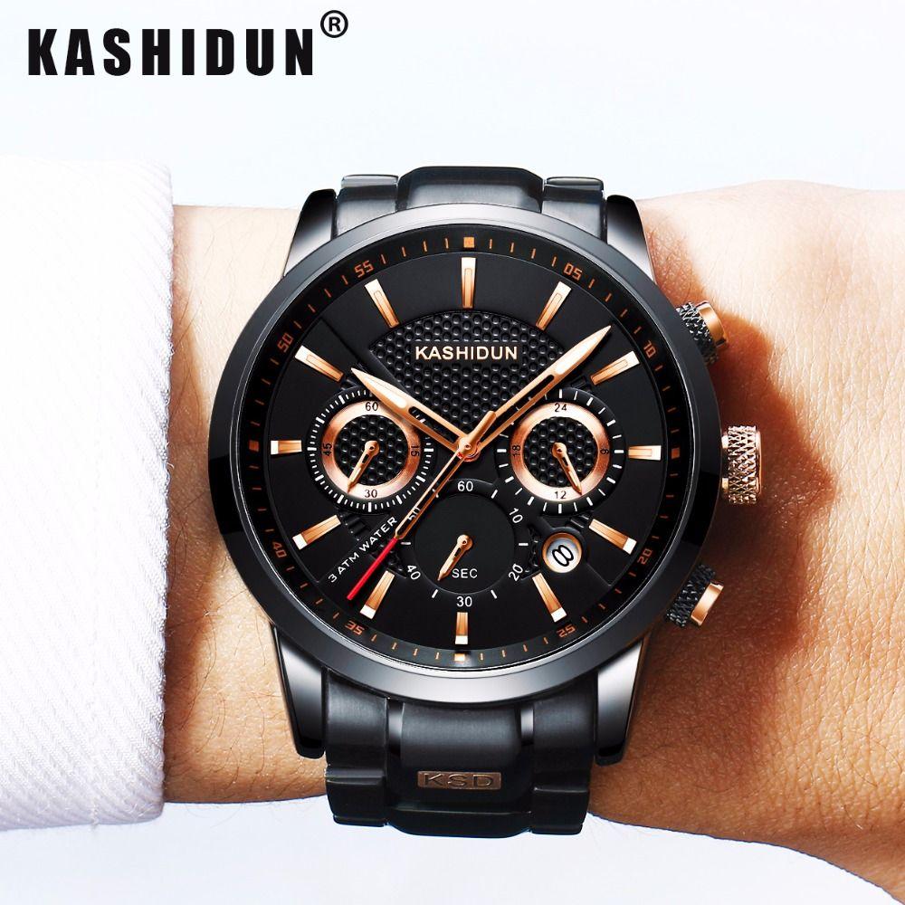KASHIDUN Элитный бренд Для мужчин S Спортивные часы Водонепроницаемый Военная Униформа часы Для мужчин модные Повседневное японский Кварцевые ...