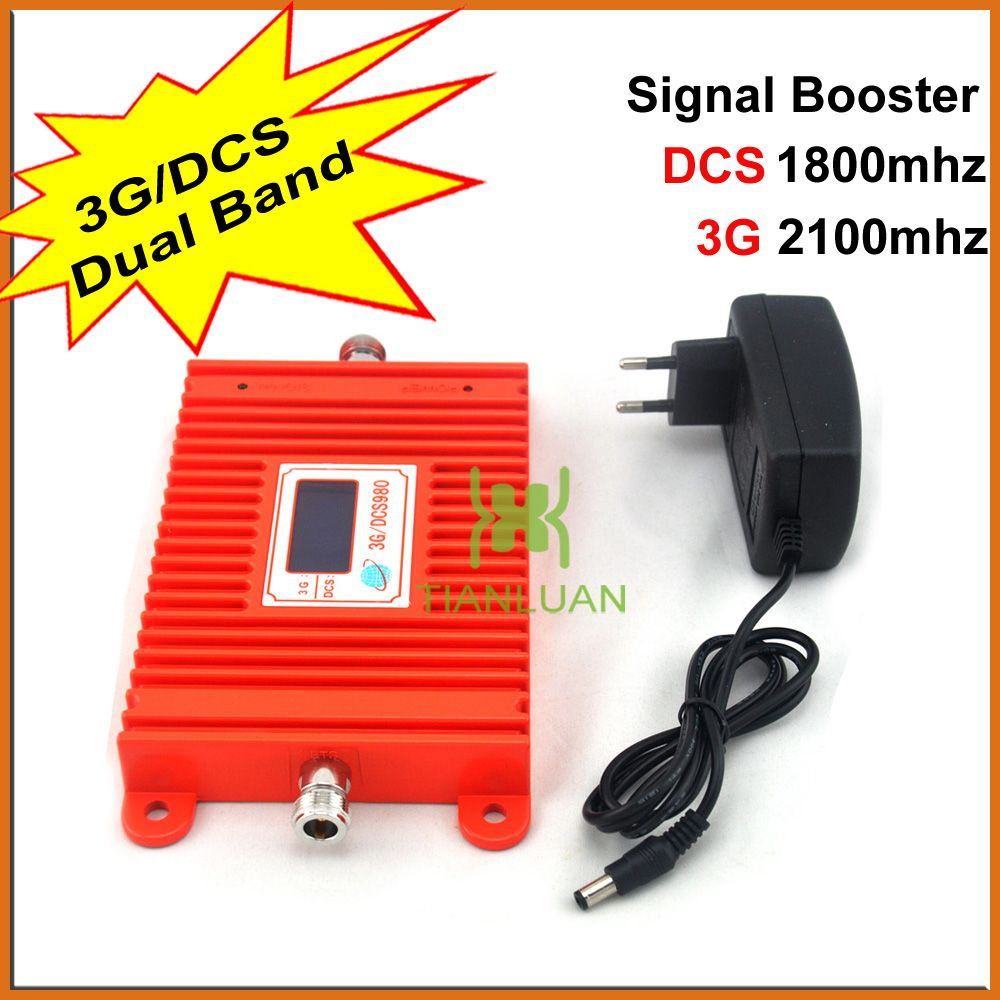 LCD Display DCS 1800Mhz W-CDMA 2100MHz Dual Band Mobile Phone Signal Booster 2G 3G 4G Cell Phone Signal Repeater + Power Supply