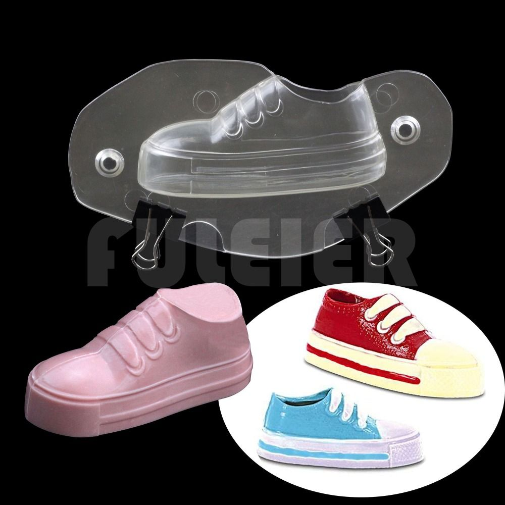 3D детская Бег обувь формы пластиковые шоколадная форма, поликарбонат шоколада плесень украшения торта Конфеты выпечки и кондитерские инст...