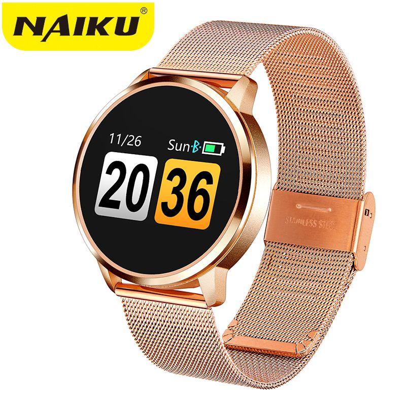 2019New Q8 OLED Bluetooth Smart Watch Stainless Steel Waterproof Wearable Device Smartwatch Wristwatch Men Women Fitness Tracker