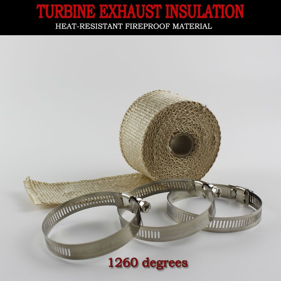 KOWELL Exhaust Pipe Wrap Bandage Header Heat Wrap Resistant Downpipe Stainless Steel Ties 5mx5cm for Car Motorcycle
