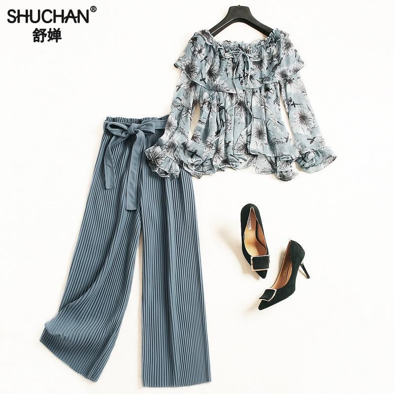 Shuchan Women Clothing Sets 2 Piece Set Women Chiffon Print Shirt+ Ankle-length Pants Suit Women 2018 Autumn Women Casual Suit