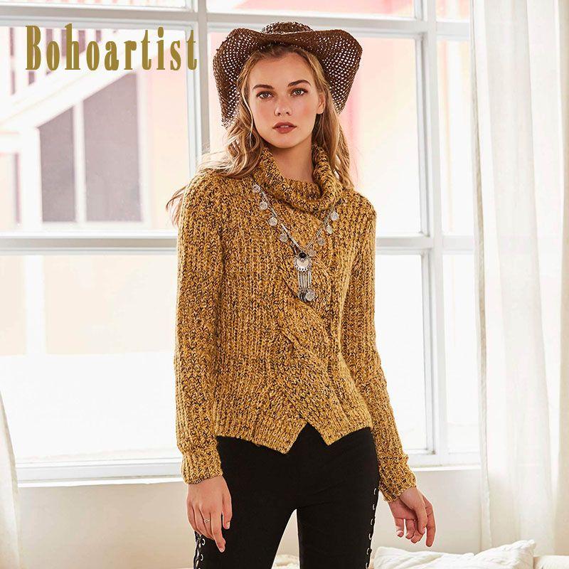 Bohoartist Для женщин желтый тонкий трикотаж свитер осень 2017 г. переплетения лоскутное Водолазка пуловер Женская мода Свитеры для женщин