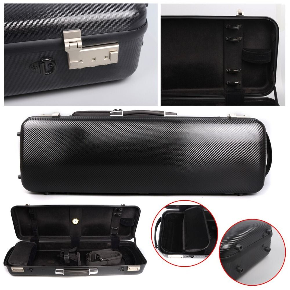 Yinfente Good Rare 4/4 Violin Case Black Carbon Fiber High strength load-bearing 200KG Fine Code lock Oblong Case