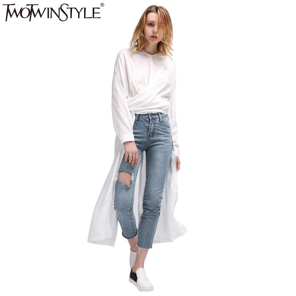 TWOTWINSTYLE Casual Midi Summer Dress Women's Shirt Dresses Female Top Long Sleeve Blouse White Black Novelties Korean Big Sizes