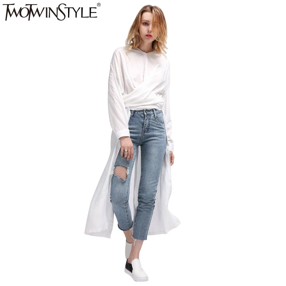 TWOTWINSTYLE Casual Midi Summer Dress Women's Shirt Dresses Female Top Long Sleeve Blouse White Black Novelties Korean Big Sizes