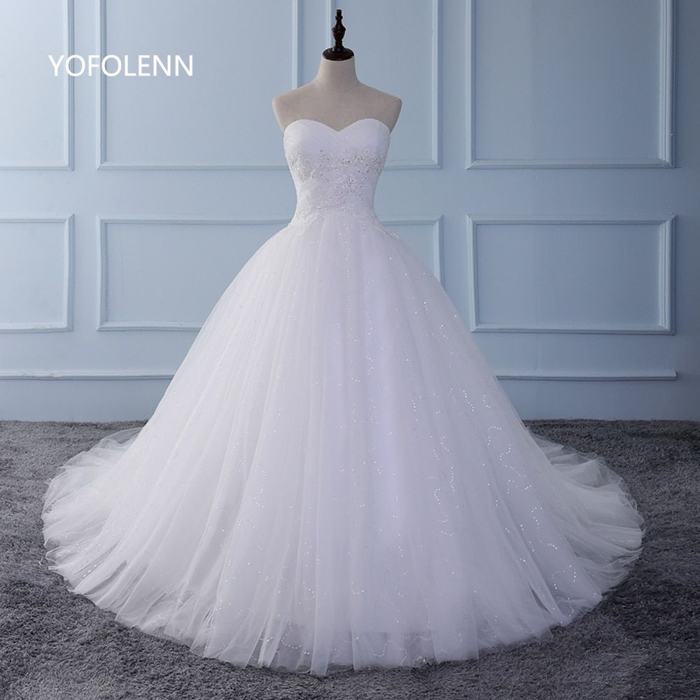 Stunning Sweetheart Ball Gown Wedding Dresses 2017 Real Pictures Beaded White Long Train Tulle Bridal Gown Custom made Sleeveles