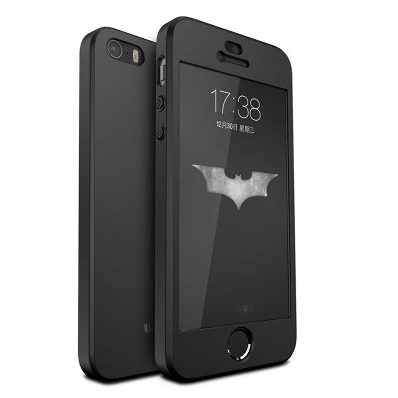 100% ORIGINAL Slenky luxury full protection hartplastik fall für iphone SE für iphone 5 s mit gehärtetem glas film schwarz