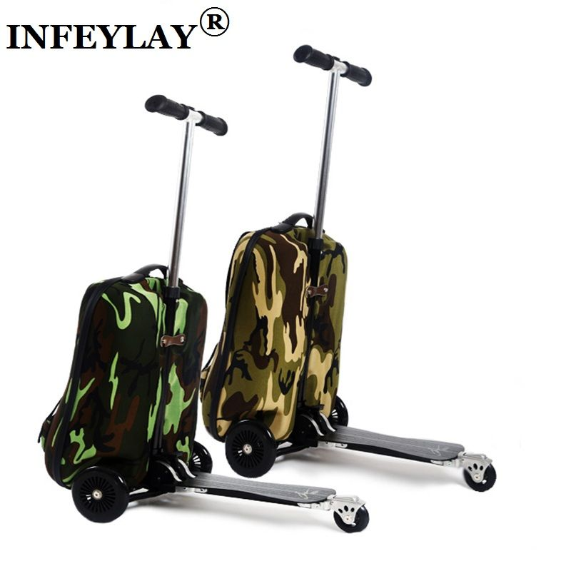 COOL 20 inches camouflage boy scooter suitcase men trolley case extrusion students backpack business Travel luggage Boarding box