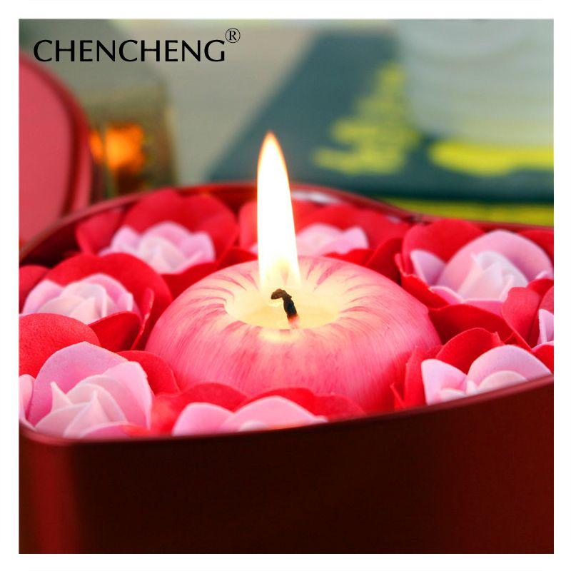 Artificielle Fleur Rose Avec Apple Bougie Décorative boîte De fleur de Savon De Mariage De Noël Cadeau de mariage fleur Décoration CHENCHENG