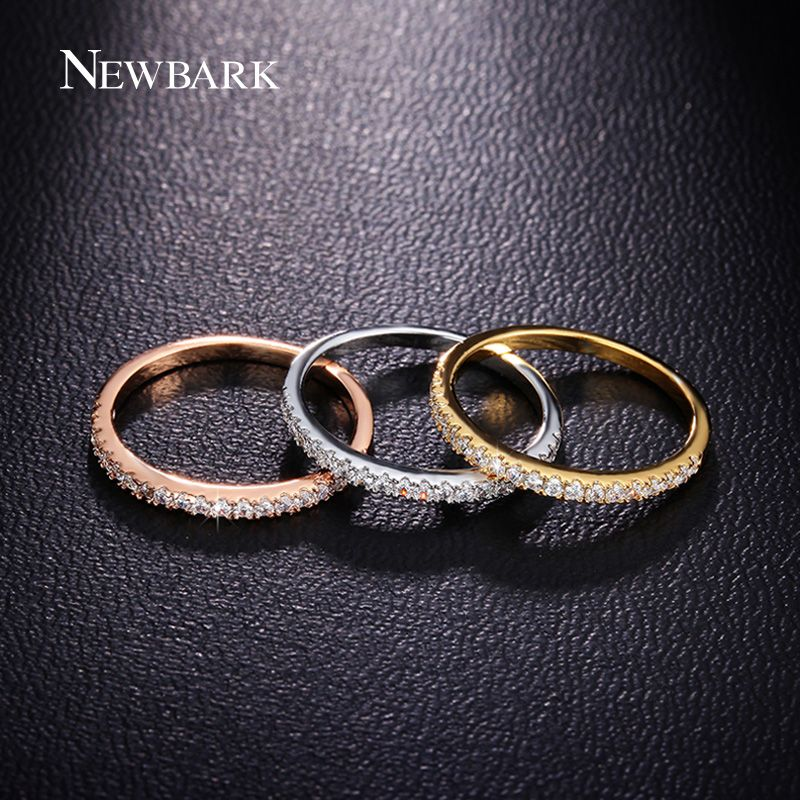 NEWBARK AAA + Circón Juegos de Anillos para Las Mujeres Nupcial Conjunto de La Boda joyería Superior Brillante CZ Piedra 3 unids Mezclar Colores Clásico Dedo anillos