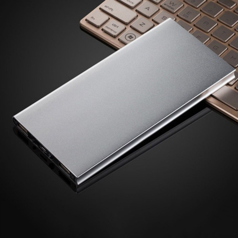 Ultra Thin 10000MAH External Power Bank Portable Size 2USB Aluminum Alloy Battery Charger Battery Power Supply For Phones