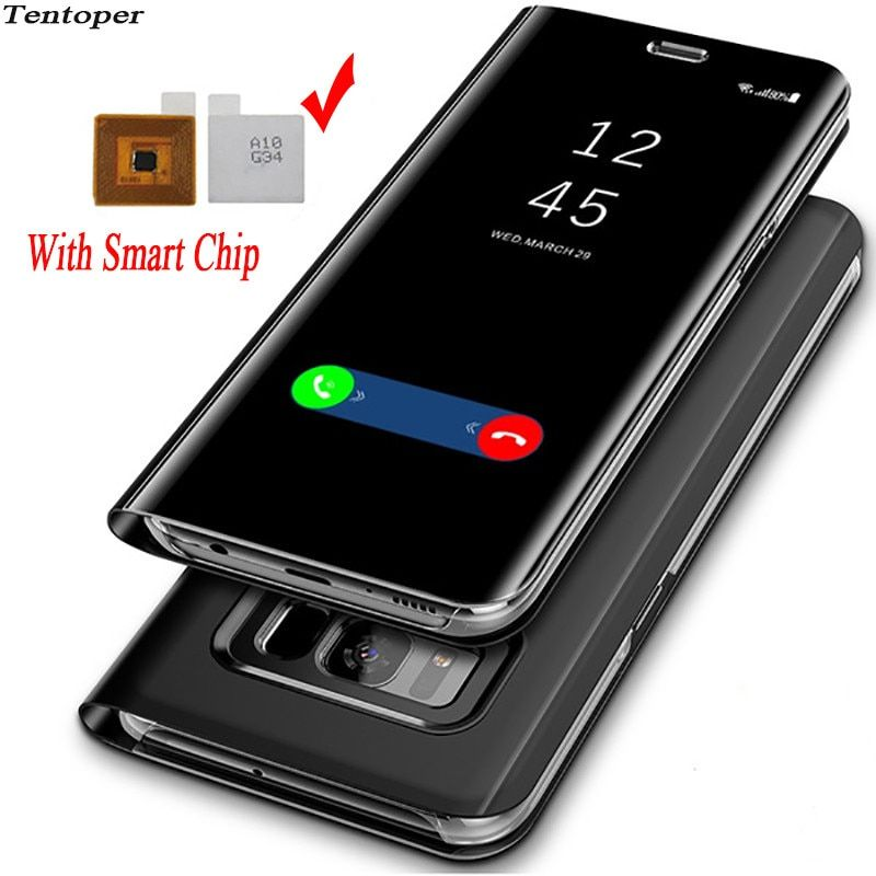 Touch Flip Stand Case For Samsung Galaxy S8 S9 Plus S6 S7 Edge Smart Chip Clear View Cover For Samsung Note 8 Note 5 Phone Case