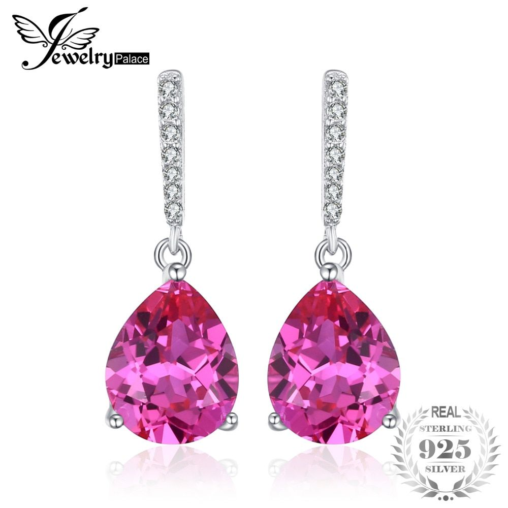JewelryPalace Luxury 7ct Created Pink Sapphire Drop Earrings 925 Sterling Silver Fine Jewelry Water Drop Earrings For Women Gift
