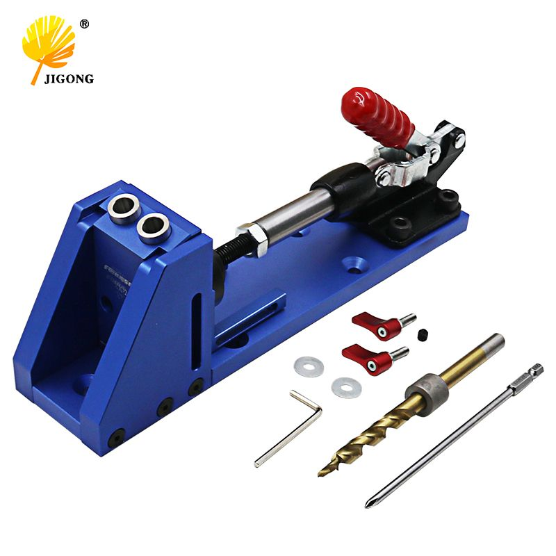 Woodworking Guide Carpenter Kit System inclined hole drill tools clamp base Drill Bit Kit System Pocket Hole Jig Kit