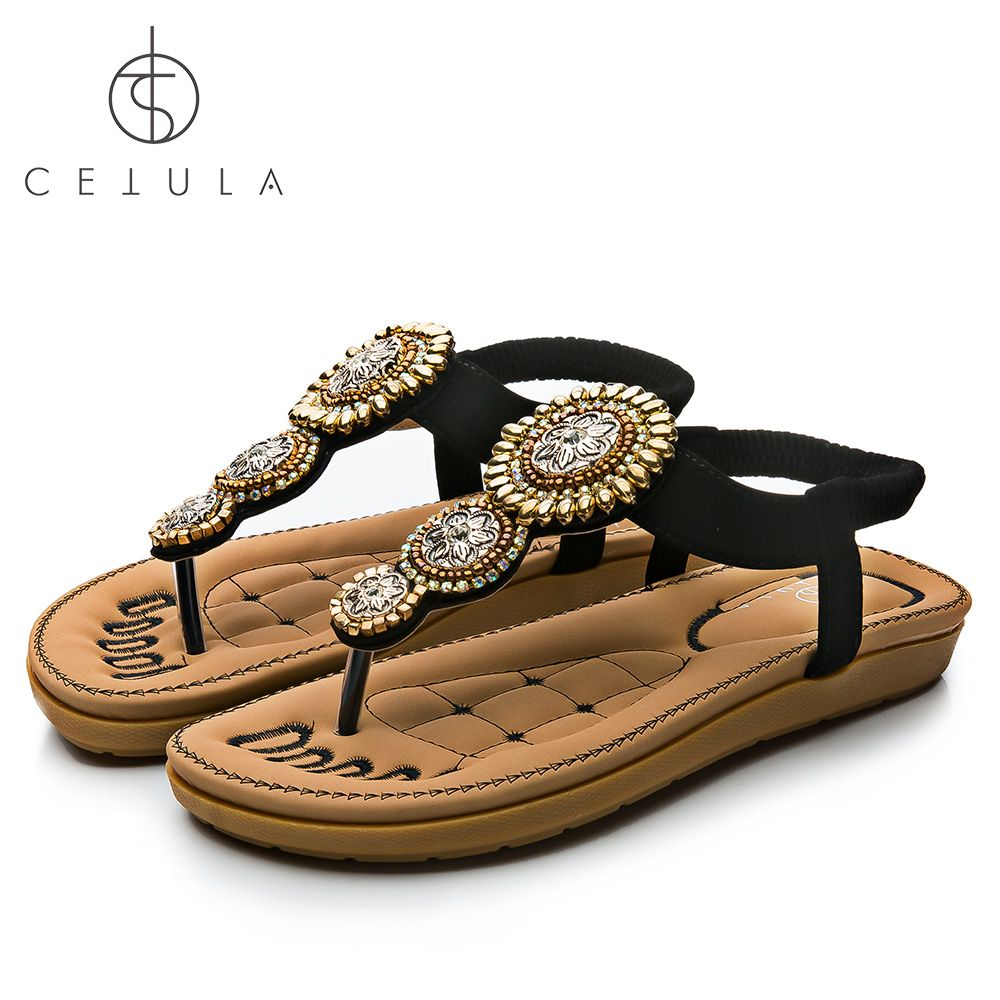 Cetula 2018 Handcrafted Gold Sunflowers Charm Suede Stripes Strentch Women Flip-flop Sandal ft. Stitching Lambskin Padded Sole