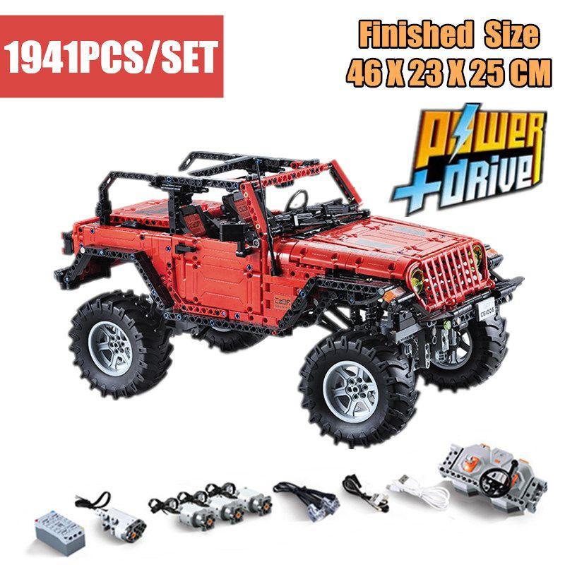 Neue MOC Jeep Wrangler Adventurer LED RC Motor Power Funktion fit legoings technic gebäude block ziegel Fahrzeug Autos kid Spielzeug gft