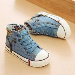 2018 otoño habilidad de expertos niños zapatos Casual niños niñas Deporte Zapatos Denim transpirable zapatillas Lona de los niños zapatos de bebé botas