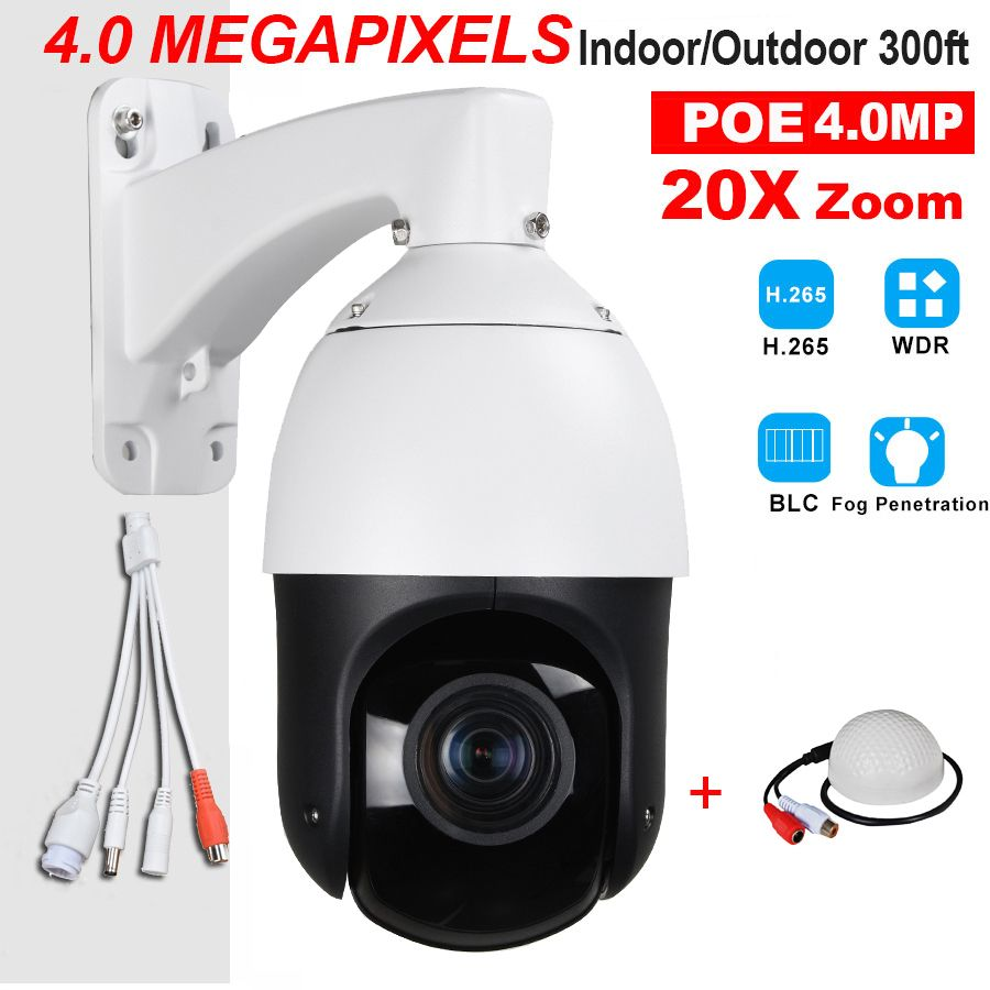 CCTV Security Outdoor IP66 H.265 H.264 High Speed POE 4.0MP 4MP IP PTZ Camera 4 Megapixels 20X Zoom ONVIF W/ Audio Microphone