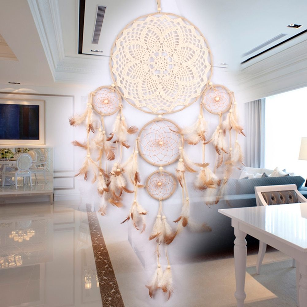 Lace Dream Catcher Circle Five-rings Dreamcatcher Net for Wall Hanging Home Car Decor Ornaments Mascot Craft