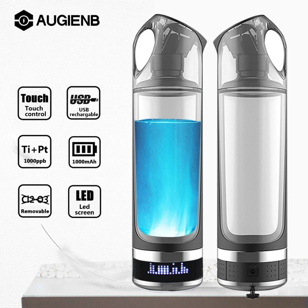 Augienb Portable USB Rechargeable Hydrogen Rich Water Generator lonizer 500ml Alkaline Energy Bottle Healthy Anti-Aging
