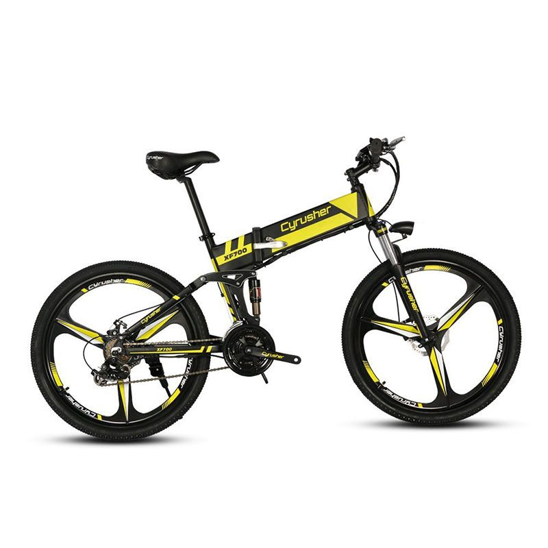 Cyrusher XF700 Unisex Folding Electric Bike 250 Watt 36V MTB Bicycle Full Suspension 21 Speeds Ebike for Outdoor City Commuting