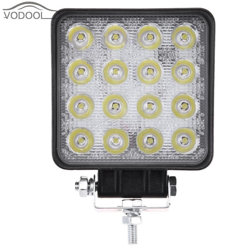 5 16 LED 48W 3520LM Thin Square Car Work Light White 6000K Automobiles Headlight Headlamp Off-road Vehicle Fog Spot Lamp