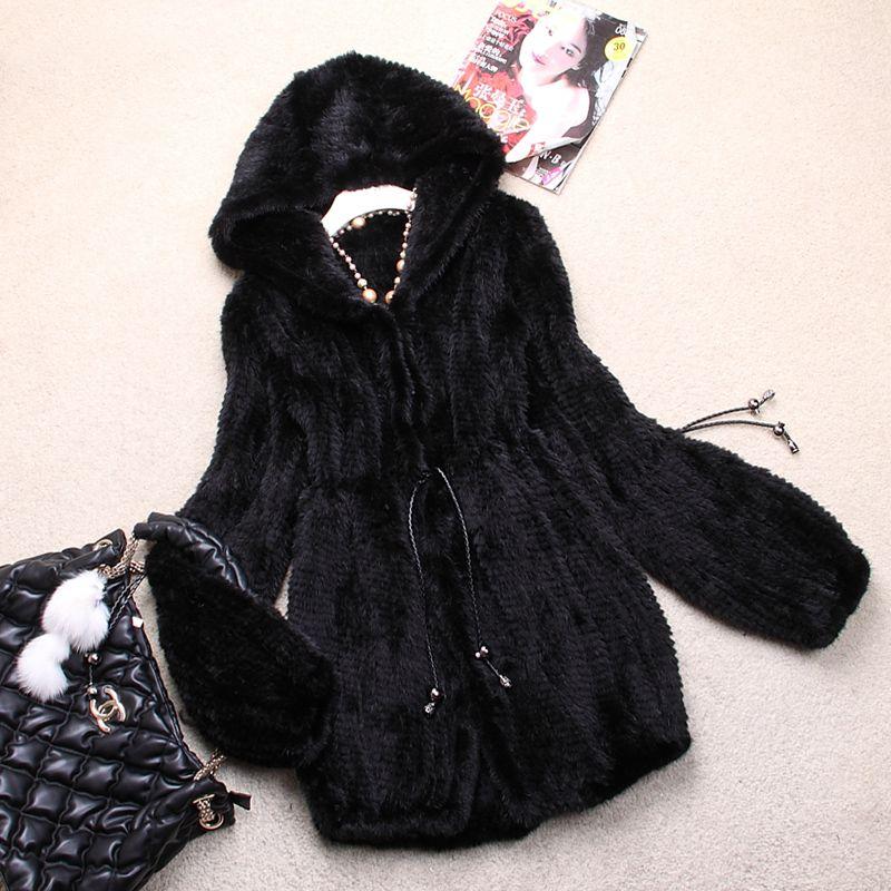 Damenmode Echte echte Gestrickte Nerz Mantel Jacke mit kapuzenpulli Winter-frauen-pelz-überwürfe Mäntel Plus Größe 4XL 5XL VK0307