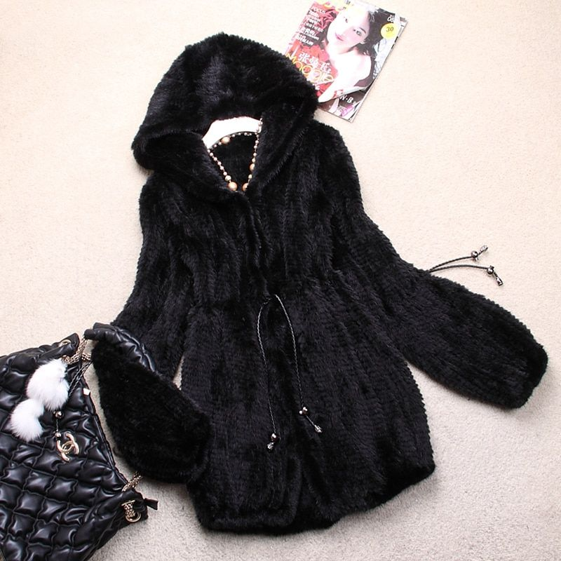 Ladies' Fashion Genuine Real Knitted Mink Fur Coat Jacket with Hoody Winter Women Fur Outerwear Coats Plus Size 4XL 5XL VK0307