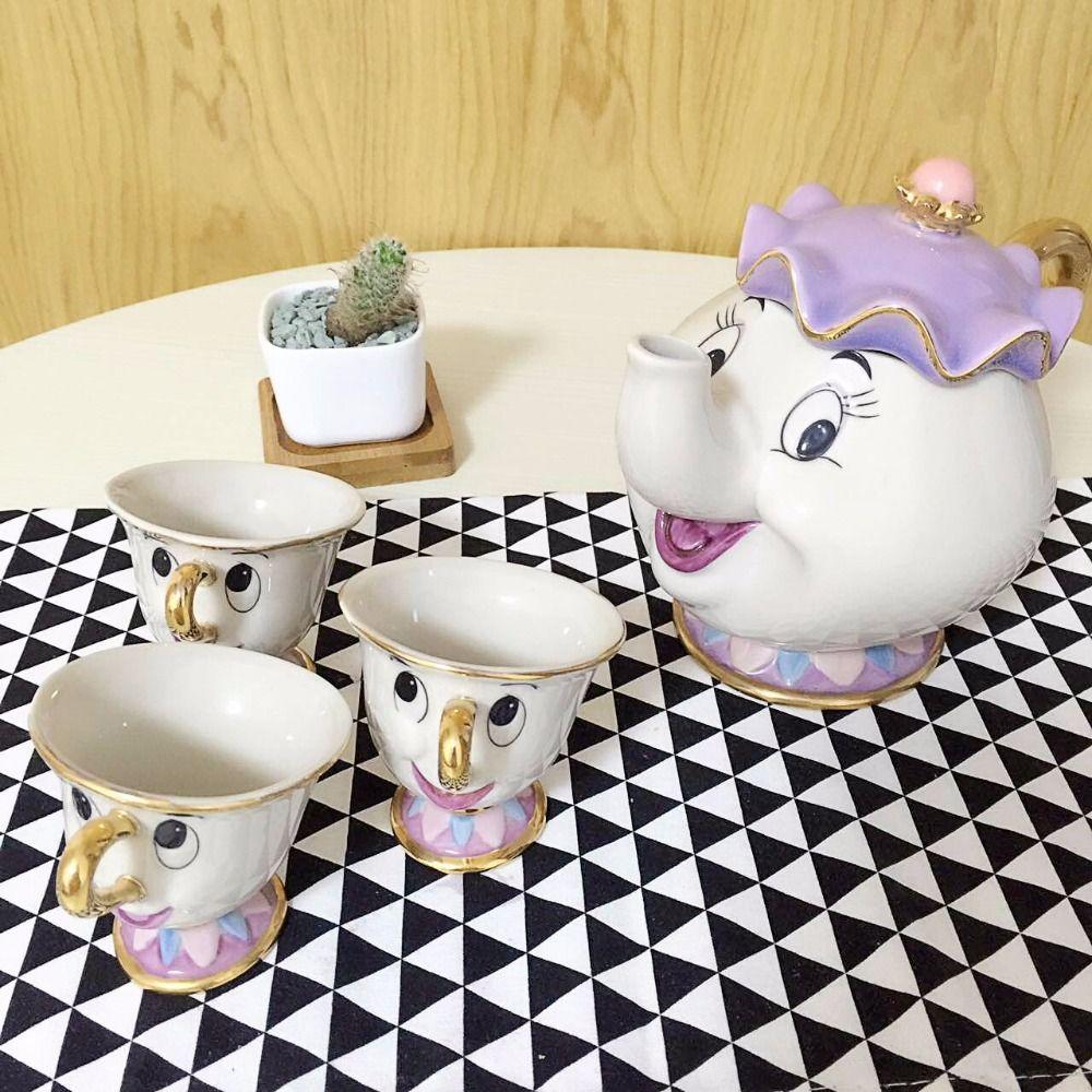 Heißer Verkauf Cartoon Schönheit Und Das Biest Teekanne Becher Mrs Potts Chip Tee-sets Tasse Schöne Geschenk