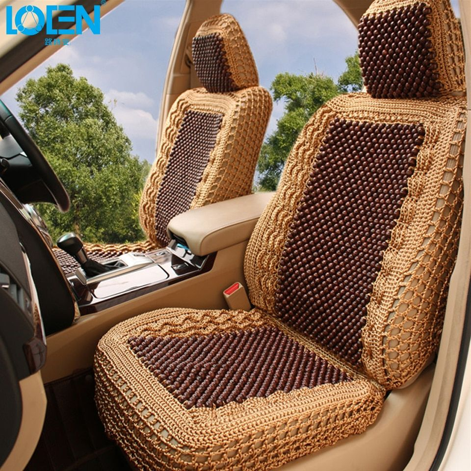 LOEN Luxury Car Seat Cushion Hand-woven Ice Silk with Wood Beads Car Seat Cover Summer Front Rear 5 Seat for Universal Car