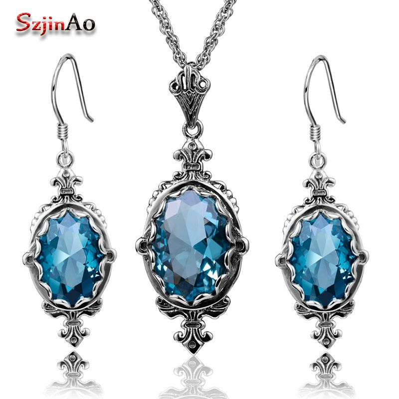Szjinao Holiday Party Blue Aquamarine Jewelry Sets Oval Pendant Vintage Earrings For Women Solid 925 Sterling Silver Set
