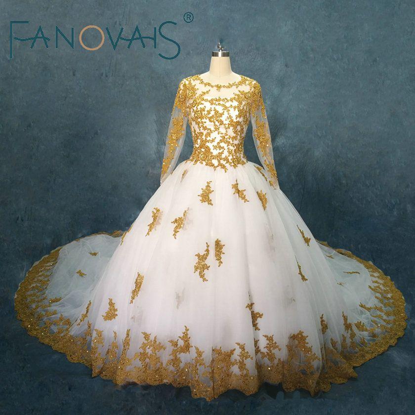 Gold Hochzeit Kleider Lange Ärmeln Spitze Ballkleider Perlen Hochzeit Kleider Vestido de Novia Robe de Maree Braut Kleider 2018