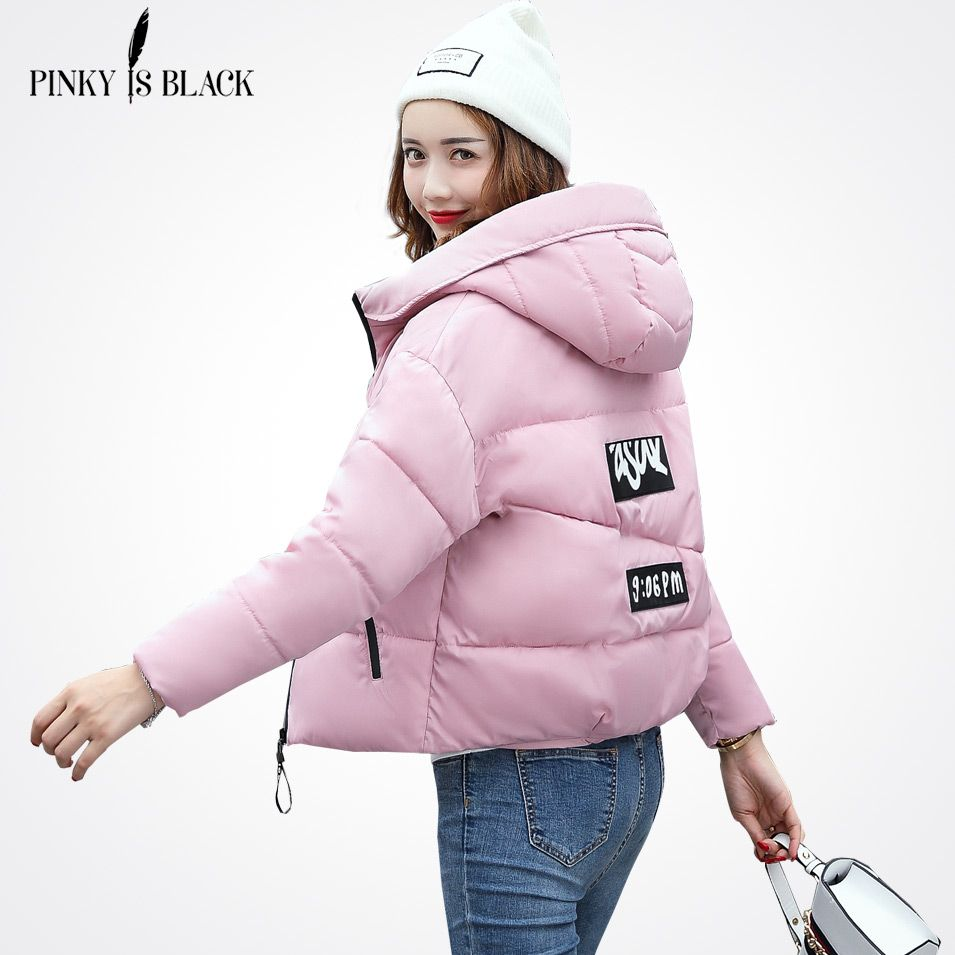 Pinky Is Black Winter Jacket Women Cotton Short Jacket 2018 New Padded Slim Hooded Warm Parkas Coat Female Autumn Outerwear