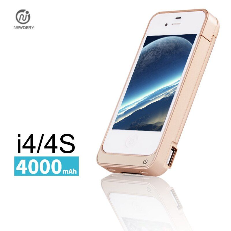 NEWDERY 4000mAh External power bank Charger pack backup battery case for iphone 4 4s with USB charge cable line