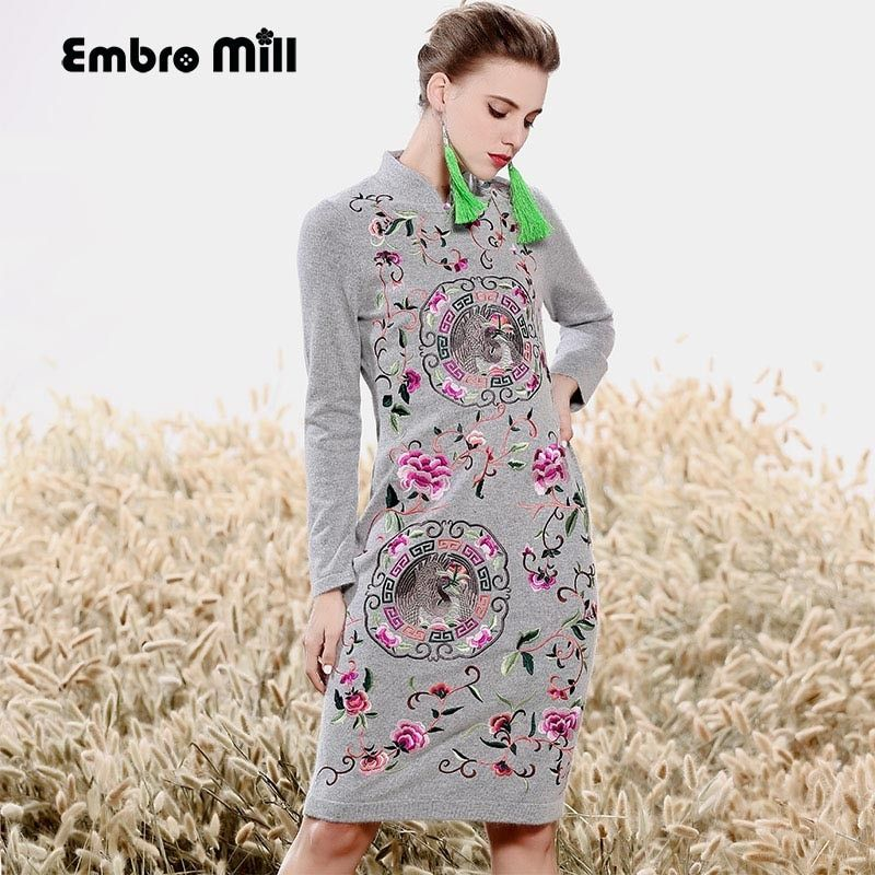 High-end autumn women Chinese style floral midi dress embroidery dresses Mink cashmere elegant slim lady Qipao party dress M-XXL