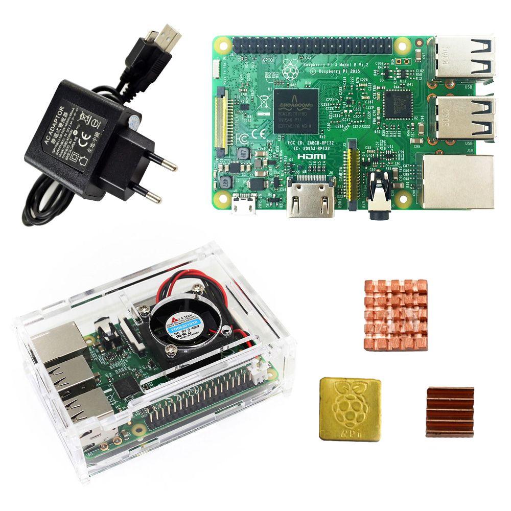 Raspberry Pi 3 Model B starter kit-pi 3 board / pi 3 case /EU power plug/with logo Heatsinks pi3 b/pi 3b with wifi & bluetooth