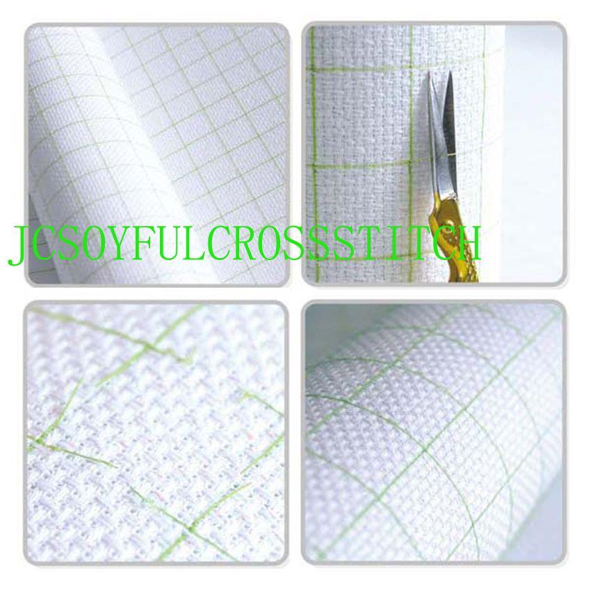Top qualité 14CT 14ST coton pré-grille quadrillé point de croix toile, couleur doublée grille broderie toile