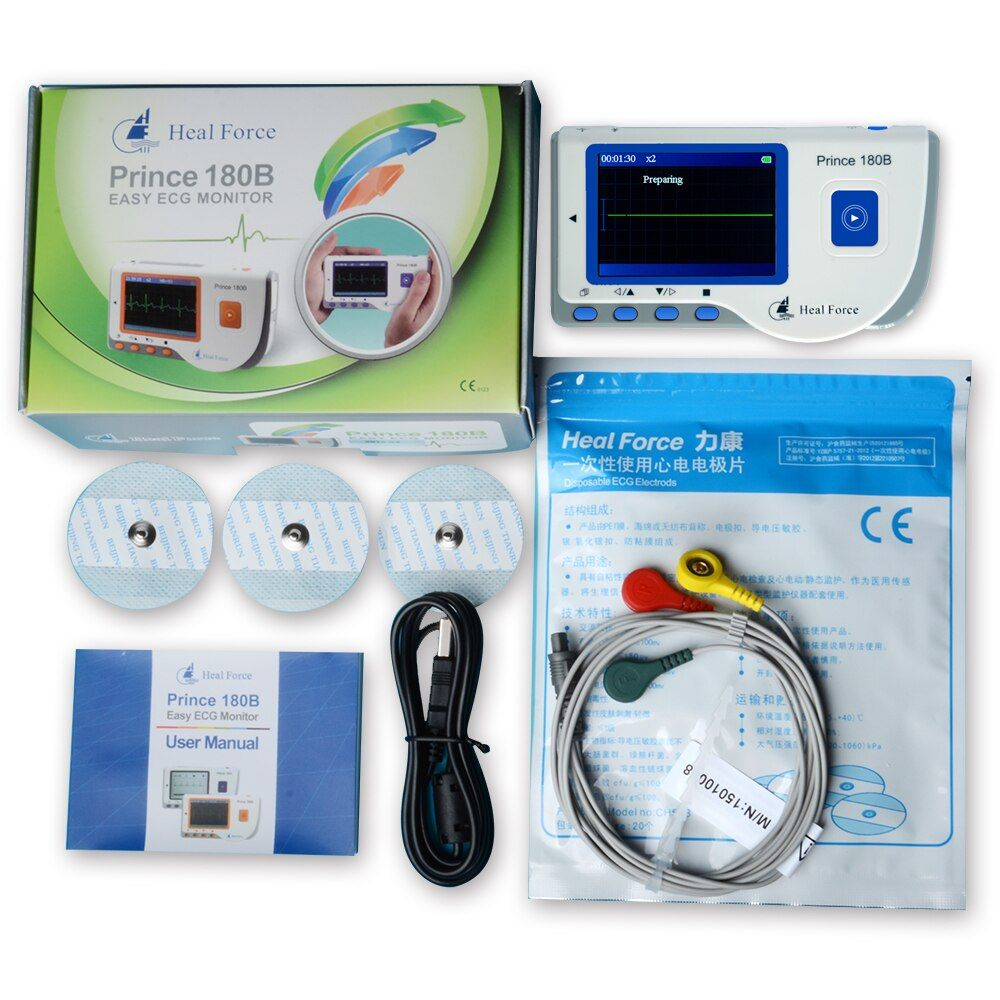 Heal Force Prince 180B Portable Household Heart Ecg Monitor Continuous Measuring Color Screen CE & FDA Approved