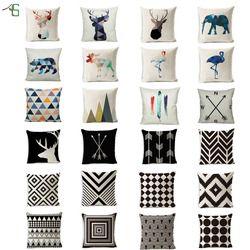 Cerf Animal Housse de Coussin Nordique Géométrique Plume Coton Lin Flèche Oreiller Cas Boussole Noir Taie D'oreiller Canapé Décoratifs pour La Maison