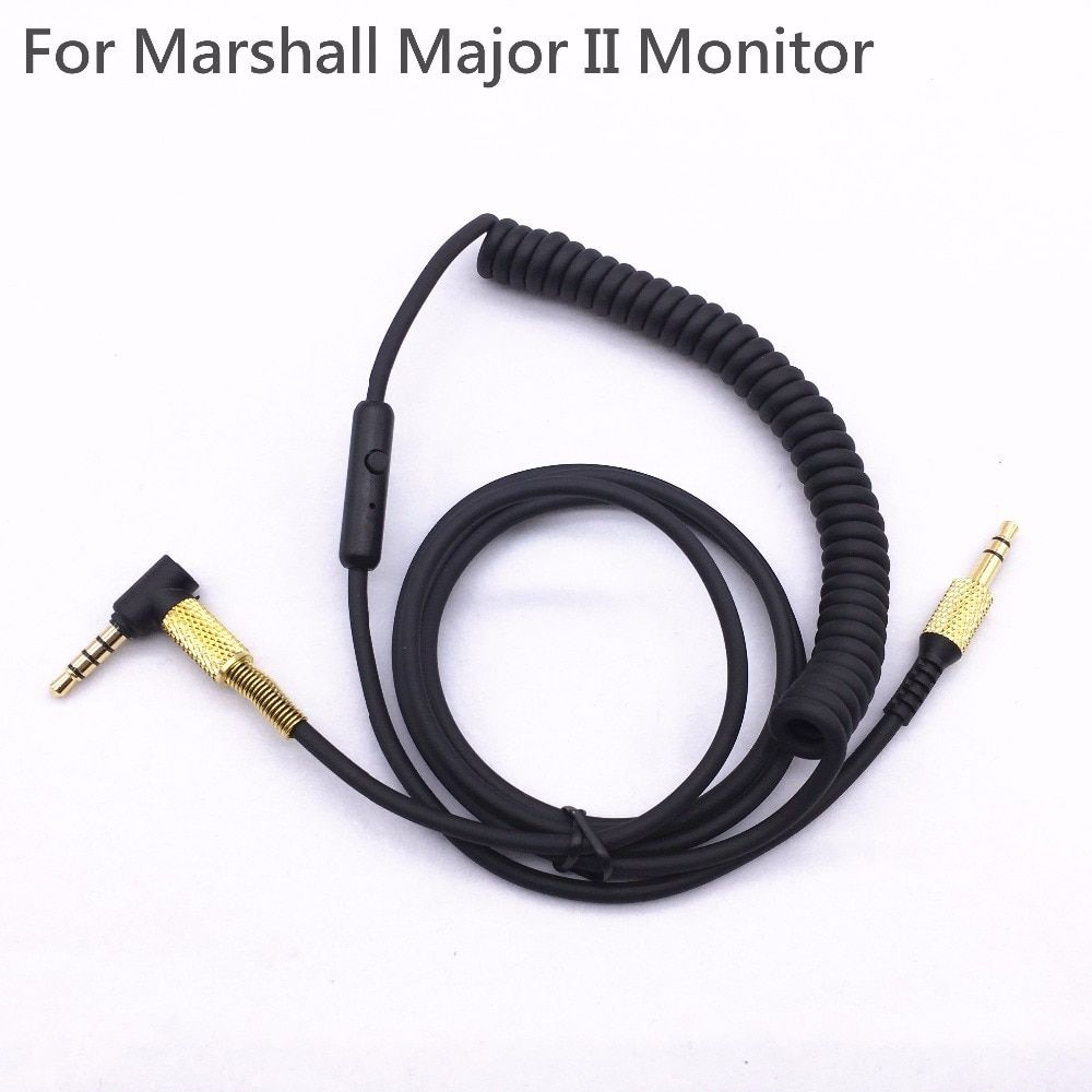 For Marshall Major 2 Major II Monitor Headphone Cable with mic Voice Control Headset Drive-by-wire Cable for Iphone Samsung LG