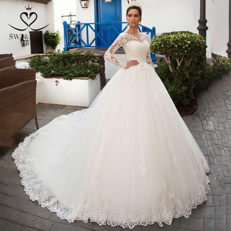 Swanskirt Abnehmbarer Langarm Hochzeit Kleid 2019 Scoop Appliques Spitze Ballkleid Vintage Prinzessin Braut Vestido de Noiva K201