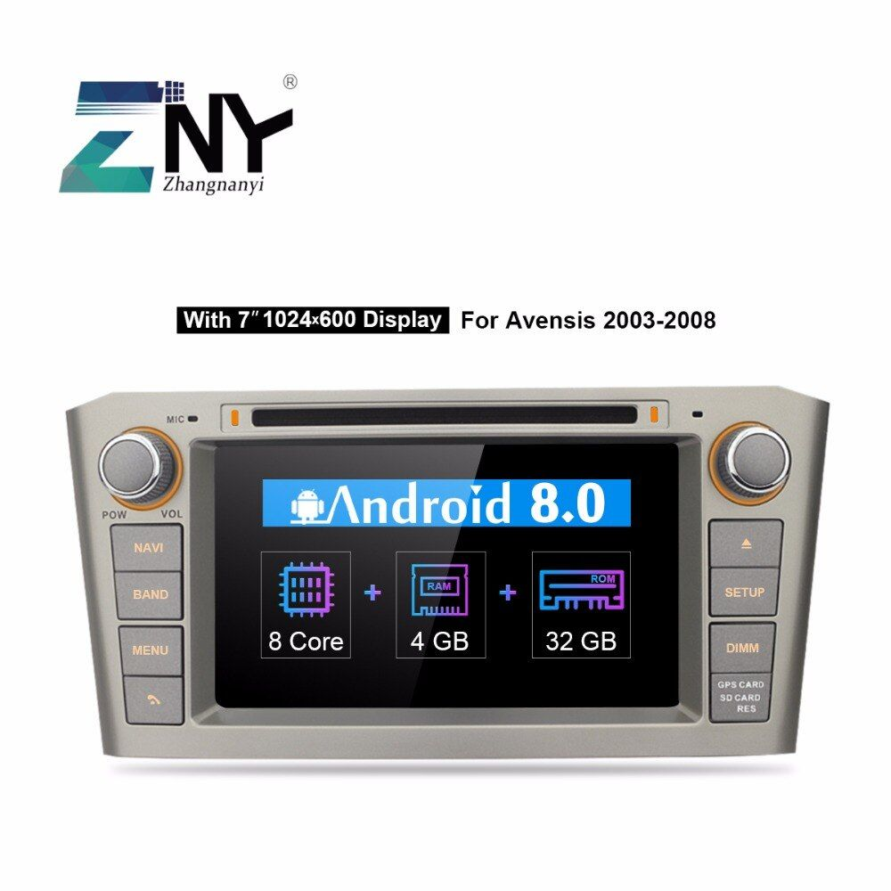 Android 8.0 2 Din Car DVD Stereo For Toyota Avensis T25 2003-2008 7