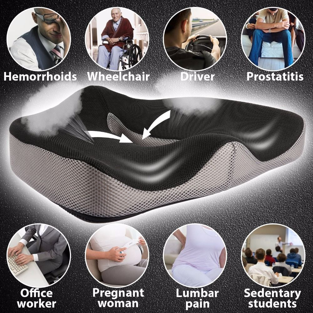 Coccyx Orthopedic Comfortable Memory Foam Chair Car Seat Cushion for Lower Back Tailbone Medical Hemorrhoids Cushion Almofadas