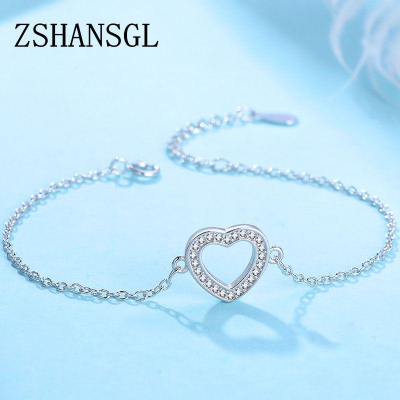 Ausgezeichnete solide 925 sterling silber Armbänder Für Frauen Mode liebhaber herz Schmuck AAAAA Kristall Zirkon Plata Armband