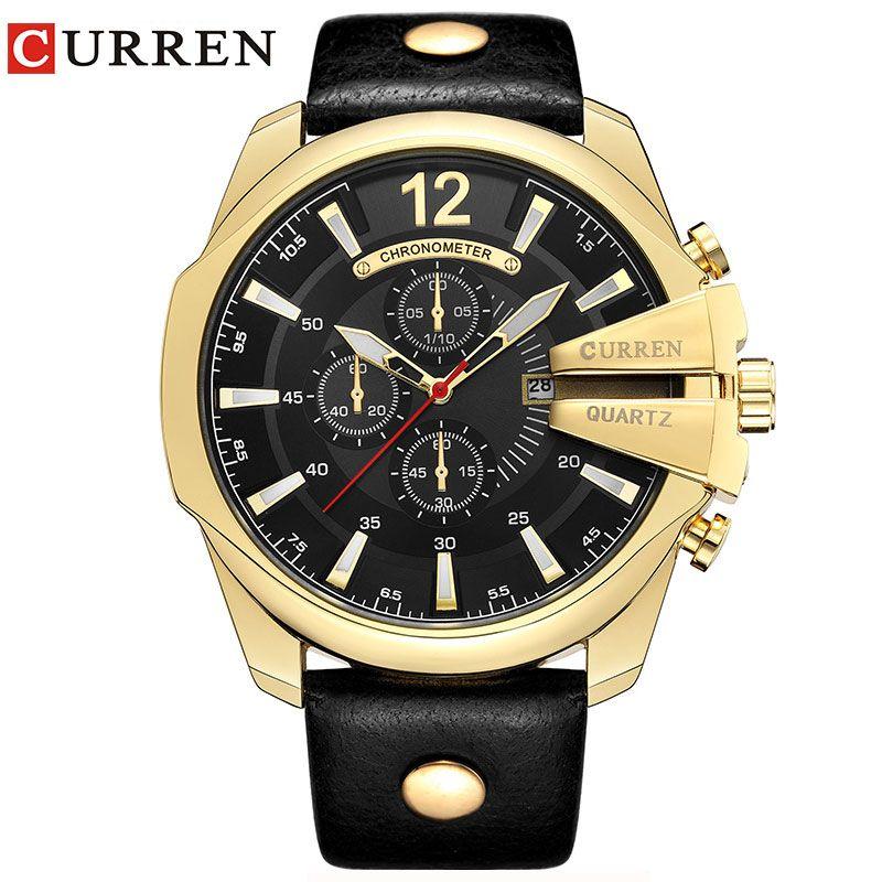 Relogio masculino Curren Мужчины часы 2016 Топ Роскошные популярный бренд человек кварцевые часы золотые часы Мужские часы 8176