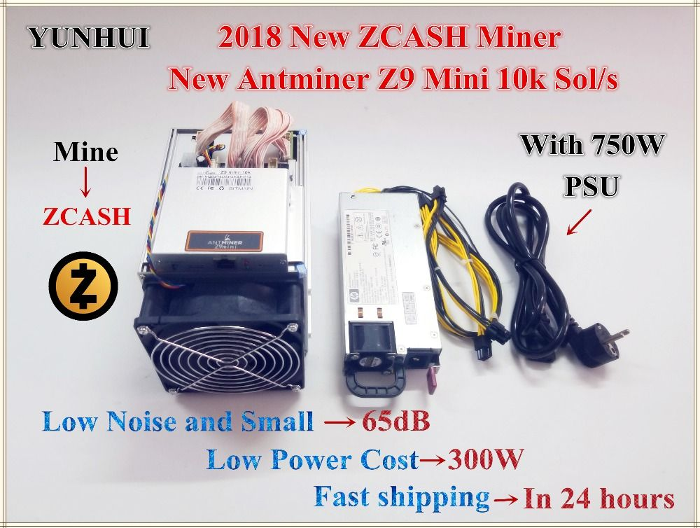 Free shipping New Antminer Z9 Mini 10k Sol/s With 750W PSU ZCASH Equihash Miner Mining ZEN ZEC BTG better than antminer S9 Z9