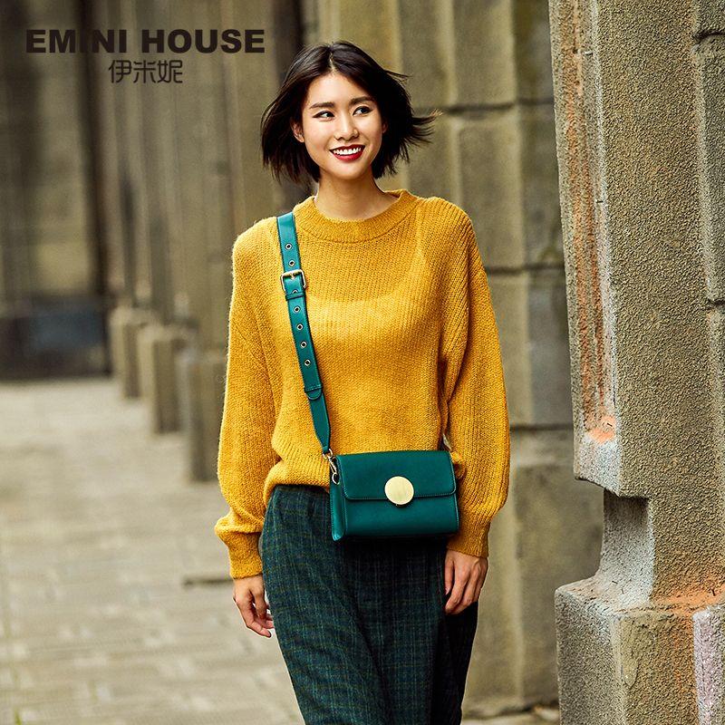 EMINI HOUSE Round Lock Flap Bags Split Leather Women Shoulder Bag Wide Strap Luxury Brand Crossbody Bags For Women Messenger Bag