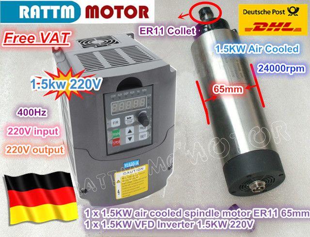 EU Kostenloser MEHRWERTSTEUER CNC 1.5KW 220 V luftgekühlten spindel motor ER11, 24000 rpm & 1.5kw Inverter VFD 2HP 220 V Für CNC Router Gravur Fräsen