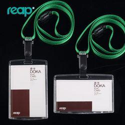 Transparent Id titulaire de la Carte avec muti-couleur Exposition cordons Personnel Cartes (Standard taille 86*54mm, peut insérer 2 cartes)